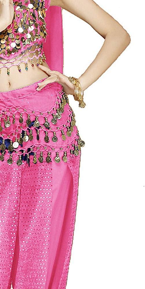 Grouptap Ensemble de Costume de Danse du Ventre pour Femme 4 pi/èces Noir//Blanc//Rose avec Un Pantalon sup/érieur Foulard de t/ête en Voile de t/ête pour la Danse Arabe
