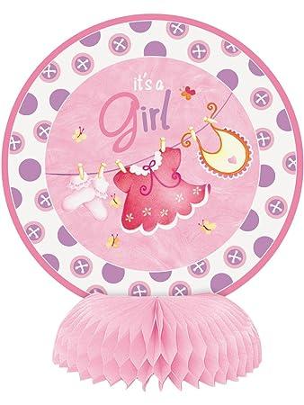 Unique Party Mini Honeycomb Pink Clothesline Baby Shower Decorations