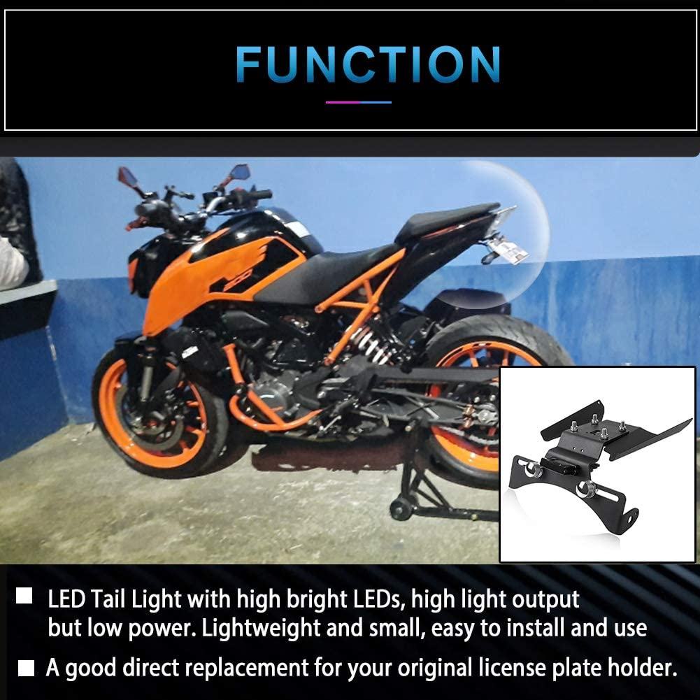 AHOLAA Portatarga Moto Duke 390 Supporto Staffa Targa Moto con Luce LED per K.T.M DUKE 390 2017 2018 2019 2020 2021 Staffa Supporto per Telaio Porta Targa