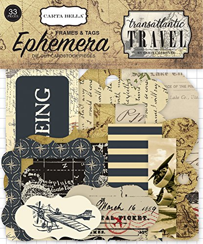Carta Bella Paper Company Transatlantic Travel Frames & Tags Ephemera ()