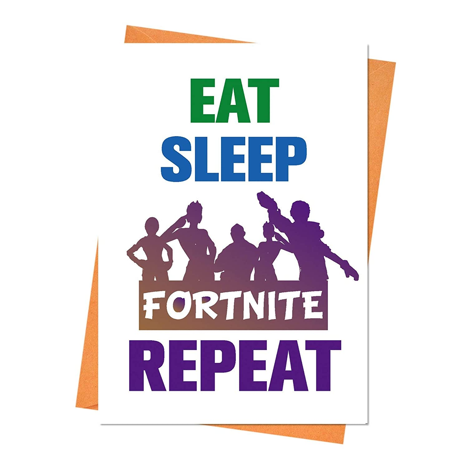 Funny Birthday Card, Fortnite Birthday Card, Boyfriend Birthday, Husband Birthday Card, Eat Sleep Fortnite Repeat Greeting Card