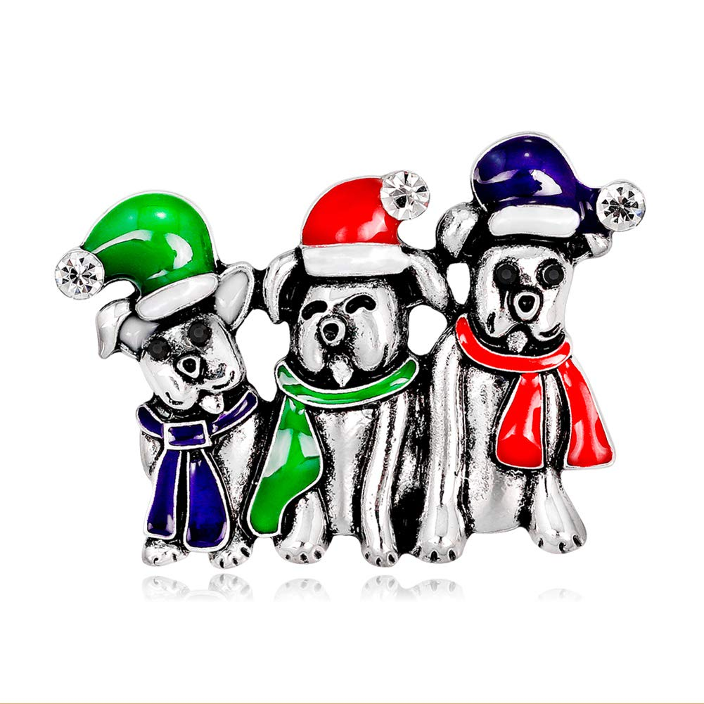 Da.Wa Christmas Cute Dog Brooch Gold Plated Alloy Brooch Pin for Coat Girlfriend Child Jewelry Gift Gold