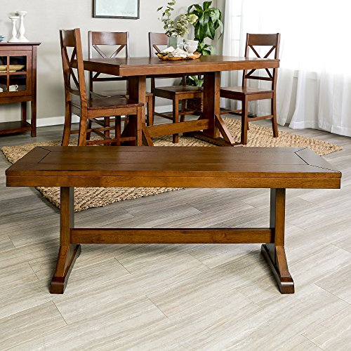 New 4 Foot Long Millwright Dining Bench - Antique Brown Finish