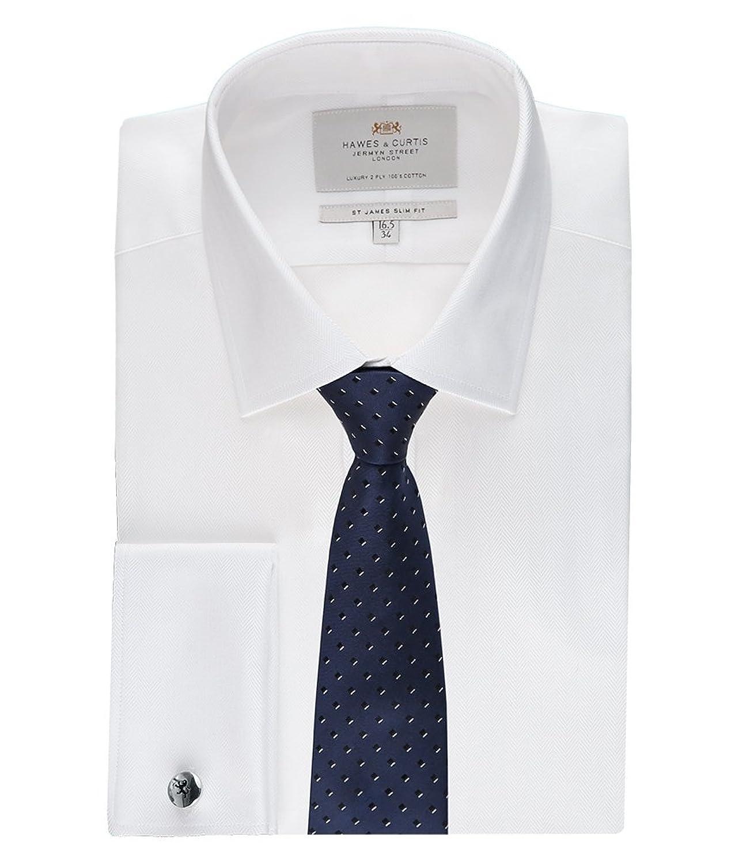 Men's White Herringbone Slim Fit Cotton Shirt - Double Cuff - Easy Iron