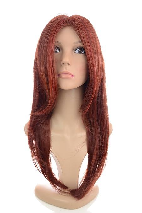 Peluca de monofilamentos con pelo largo, liso y capeado de gama alta en color pelirrojo