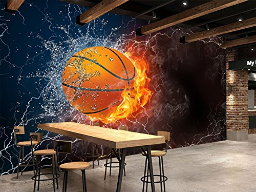 - 3D Flame Basketball 9 Wall Paper Wall Print Decal Wall Deco Indoor wall Murals Removable Wall Mural | Self-adhesive Large Wallpaper , AJ WALLPAPER Carly (82