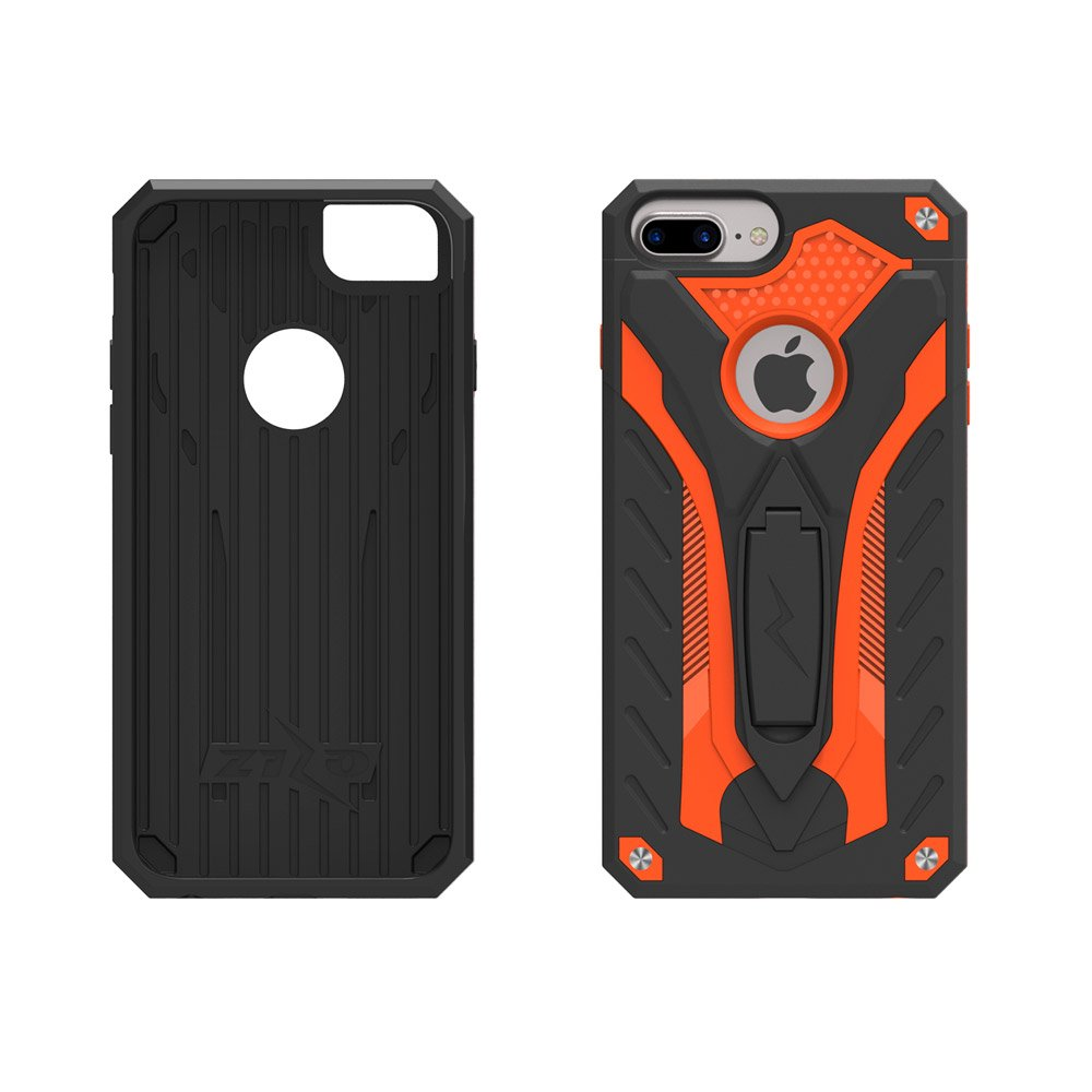classic fit 5d9a8 2e057 Zizo Static Series Compatible with iPhone 8 Plus Case Military Grade Drop  Tested with Kickstand iPhone 7 Plus iPhone 6 Plus Case Black Orange