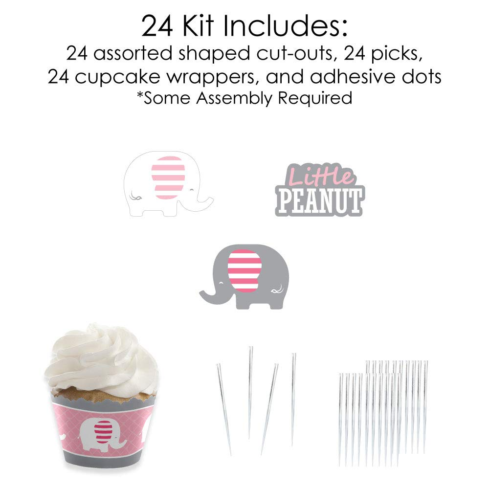 Pink Elephant - Cupcake Decoration - Girl Baby Shower or Birthday Party  Cupcake Wrappers and Treat Picks Kit - Set of 24 by Big Dot of Happiness (Image #4)