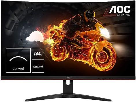 """AOC C32G1 - Monitor Gaming Curvo de 32"""" con Pantalla Full HD e-Sports(VA, 1ms, AMD FreeSync, 144Hz, Sin Marco, Ajustable en altura y FlickerFree), Color Negro/Rojo: Aoc: Amazon.es: Informática"""