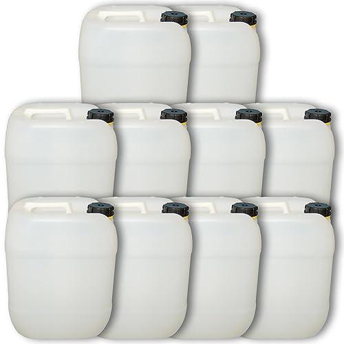 Lot de 10 bidons plastique 20 L, ouverture DIN 61 Jerrican HDPE alimentaire (10x22002)