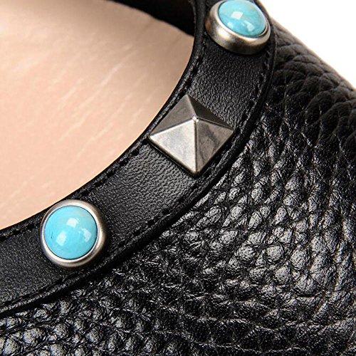 L@YC Mujeres Flat Bottom Pointed Remaches Únicos Zapatos Ballet Primavera y otoño Boca Baja Cómodo Tacones altos Black