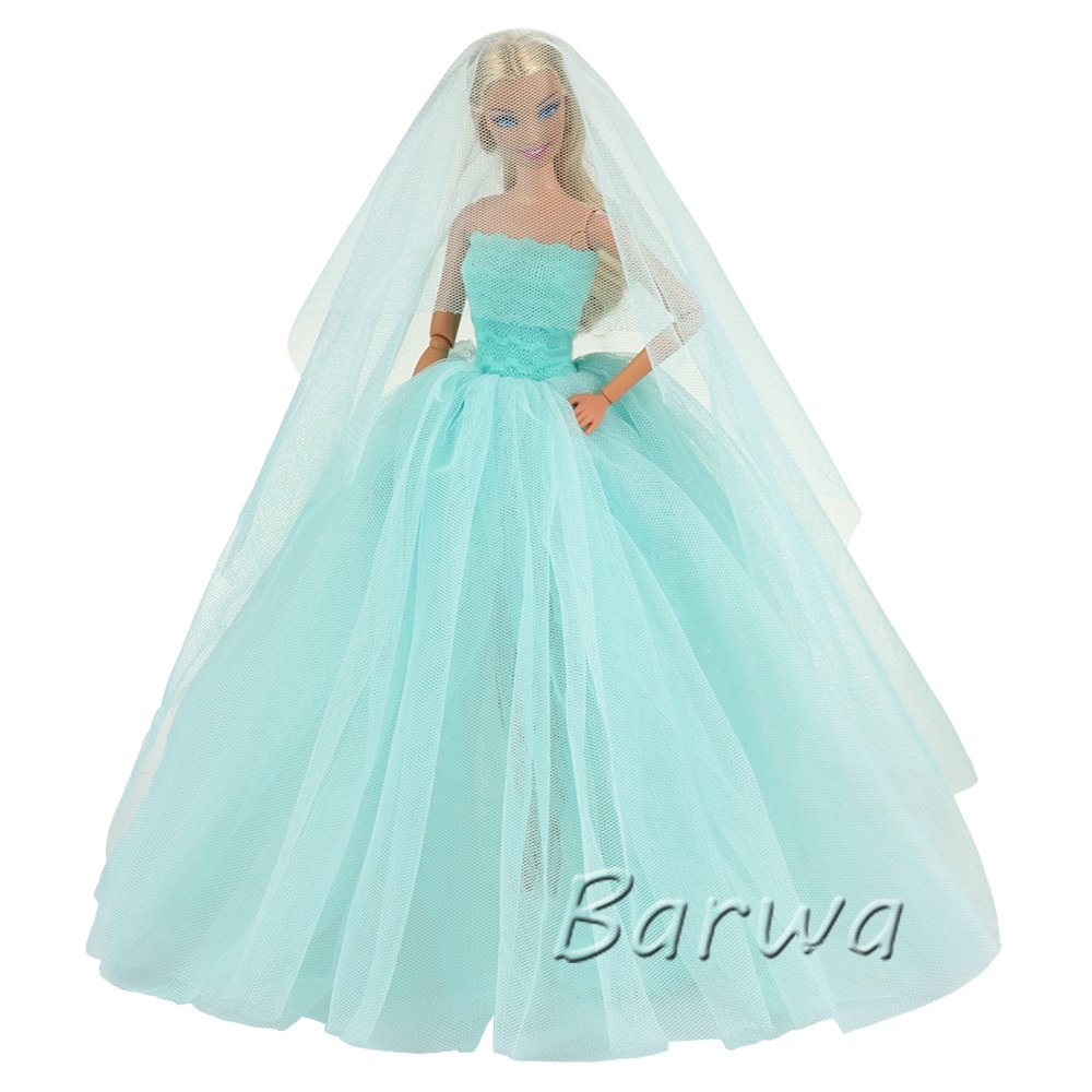 Amazon.com: Barwa Light Blue Wedding Dress with Veil Evening Party ...