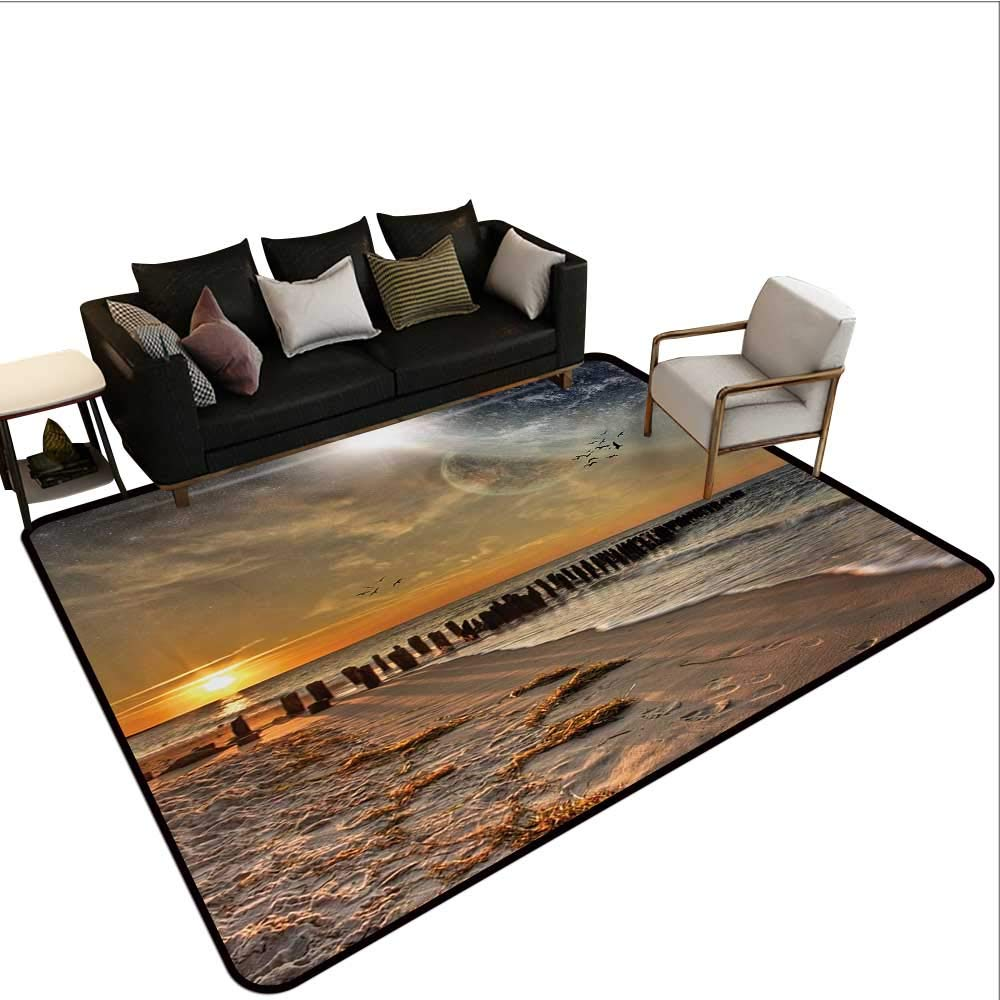 color02 W6'xL7' Decorative Floor mat,Night Sky on Mountain Range Forest Crescent Moon Star Cosmic Infinity Astral Graphic 6'6 x8',Can be Used for Floor Decoration