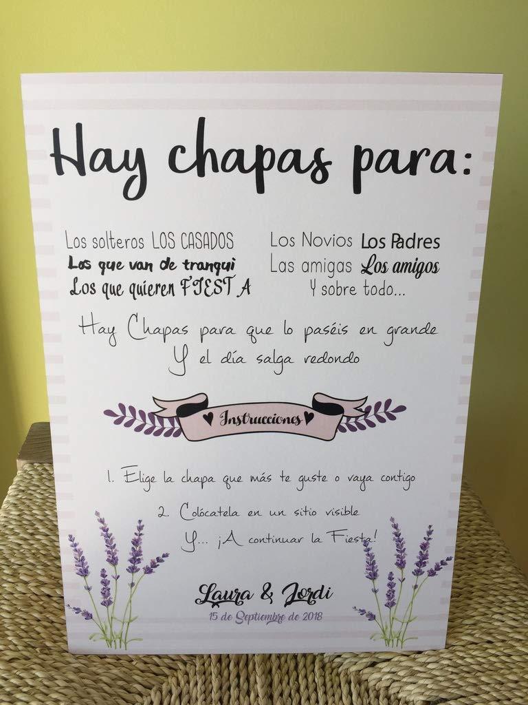 Cartel hay chapas con Soporte, estampado Lavanda: Amazon.es ...