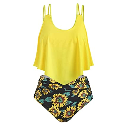 10caa4e446 Amazon.com: Women Tankini Ruffle Swimsuit Set - Ladies Plus Size Crew Neck  Strap Two Piece Bikini - Sunflower Print High Waist Swimwear Bathing Suit  (XL, ...