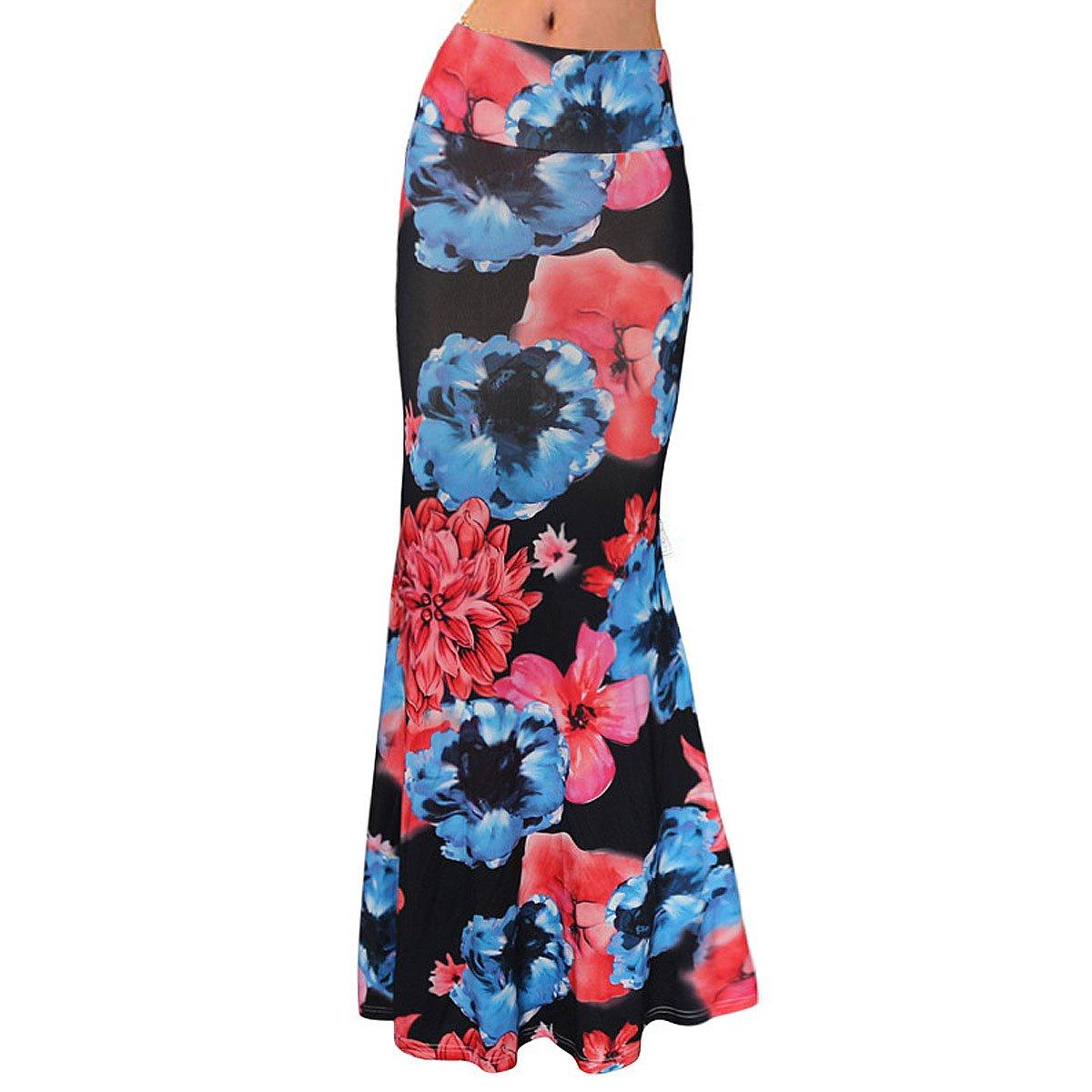 Editha Women Floral Print Maxi Long Skirt High Elastic Waist Slim Full Skirt Summer Foldover Skirts Red Flower M