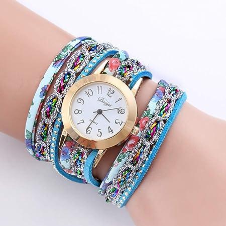 FSWH LT Reloj de Mujer Reloj de Tejido Retro Tejido con Estampado ...