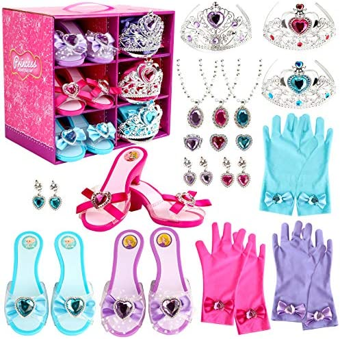 Girl Princess Dress Up Shoes Set Princess Role Play Collection Kit Pretend Jewelry Toys Accessories Set with Tiaras Crown Gloves Necklaces Earrings Gift for Birthday Halloween Christmas Costumes Party
