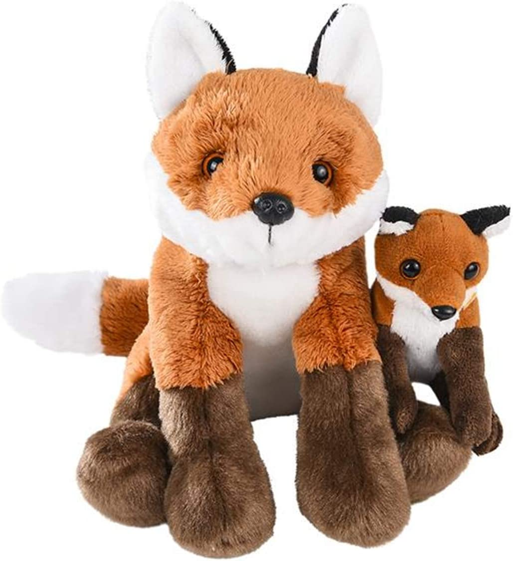 Mom and Baby Mini Stuffed Animals for Boys and Girls, Safari Baby Shower Decorations, Nursery Decor, Zoo Animals for Toddlers, Realistic Toys, Soft, Huggable and Squeezable (Fox)
