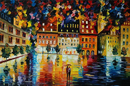100% Hand Painted Oil Paintings Decor Abstract Modern Painting Love in Rainy Night Home Wall Decoration (36X54 Inch, Wall Arts 5) by Bingo Arts