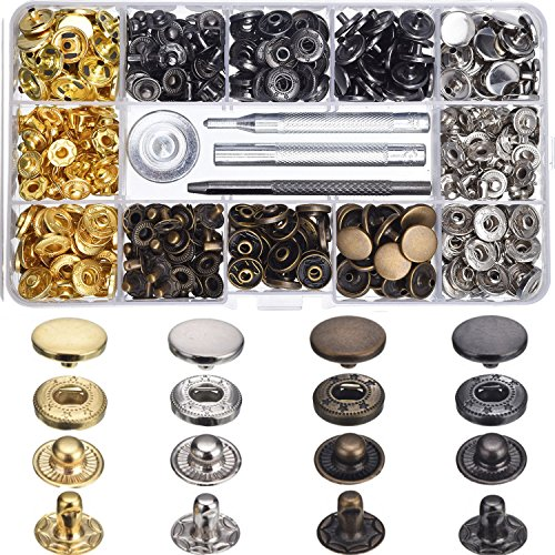 Review Of Hotop 120 Set 4 Colors Snap Fasteners Leather Snaps Button Kit Press Studs with 4 Pieces F...