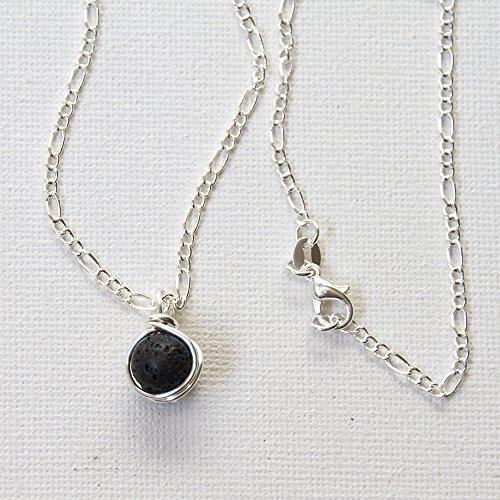Black Lava Rock Aromatherapy Bead Necklace - Wirewrapped Jewelry - 16
