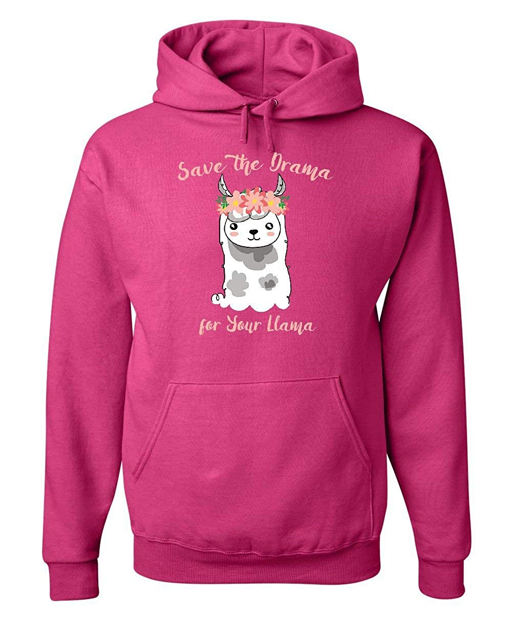 Tee Hunt Save The Drama for Your Llama Hoodie Funny Cute Adorable Fluffy Sweatshirt