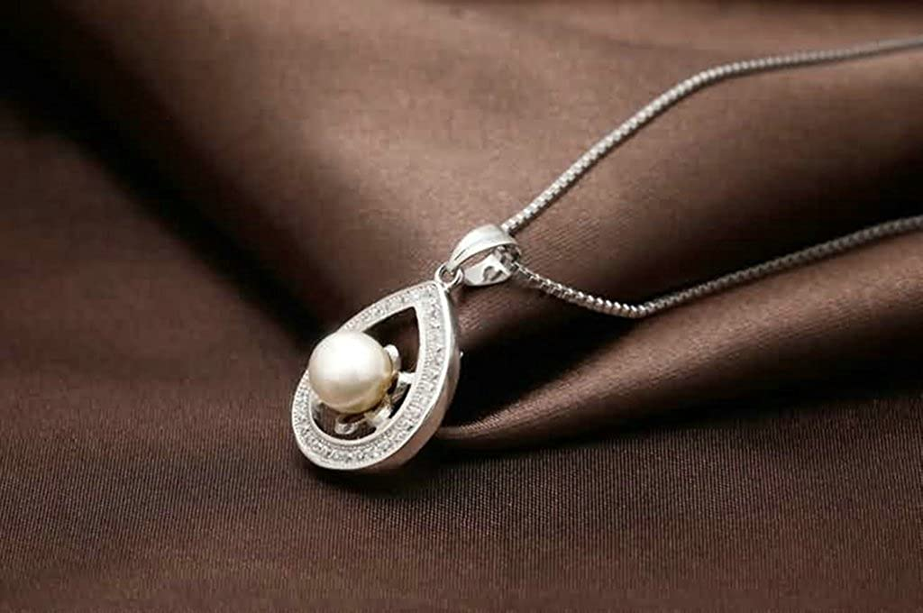 Daesar Sterling Silver Womens Necklace Hollow CZ Drop with Pearl White Pendant Necklace for Womens