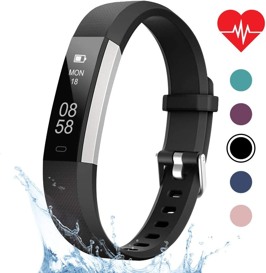 LETSCOM Fitness Tracker, Heart Rate Monitor, Pedometer Workout Tracker Smart Watch, Sleep Monitor, Step Counter, Calorie Counter, Distance Counter, IP67 Waterproof, Fitness Tracker for Kids Women Men