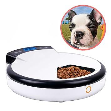 Alimentador automático para perros, PIMITI Digital LCD Dispensador de alimentos 5 comidas Alimentador para mascotas