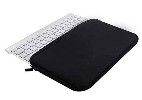 Wommty Neoprene Dust Cover Zipper Carrying Case Protector Sleeve Skins Pouch Bags for Apple Wireless Bluetooth Keyboard MC184LL/B MC184CH and MLA22LL/A and Logitech Easy-Switch K810 / K811