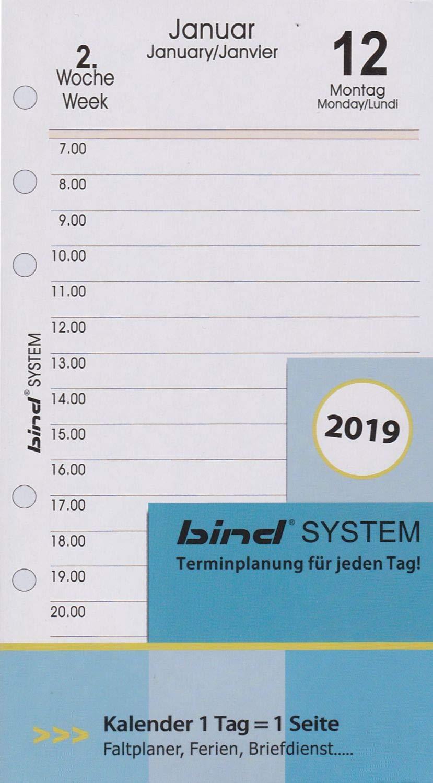 bind B260319 - Inserto per calendario, formato A6, 1 giorno = 1 pagina per 2019