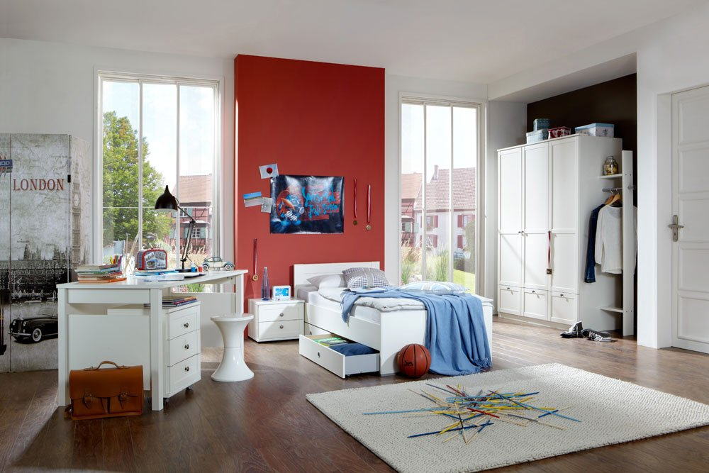 lifestyle4living Jugendzimmer 4-TLG. in Alpinweiß, Kleiderschrank Breite: 135, Bett 90 x 200 cm Rollcontainer Breite: 46 cm, Schreibtisch Breite: 140 cm