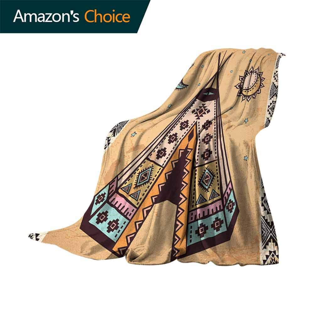 Tribal Flannel Fleece Blanket,Ethnic Tent with Ancient Symbols Cultural Unique Bohemian Free Spirit Design 300GSM Luxury Microfiber Blanket for Couch(62''x60'')-Pale Coffee Brown
