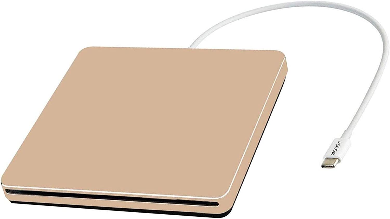 External DVD CD Drive USB3.0 VikTck USB C Super Drive External DVD CD+/-RW Burner Writer Optical Drive Compatible for with Mac/MacBook Pro/Air/iMac/Laptop/Desktop PC/Windows 7/8.1/10 (Gold)