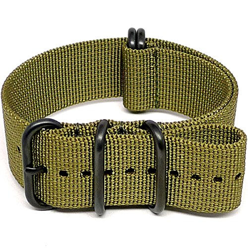 DaLuca Ballistic Nylon NATO Watch Strap - Olive (PVD Buckle) : 24mm