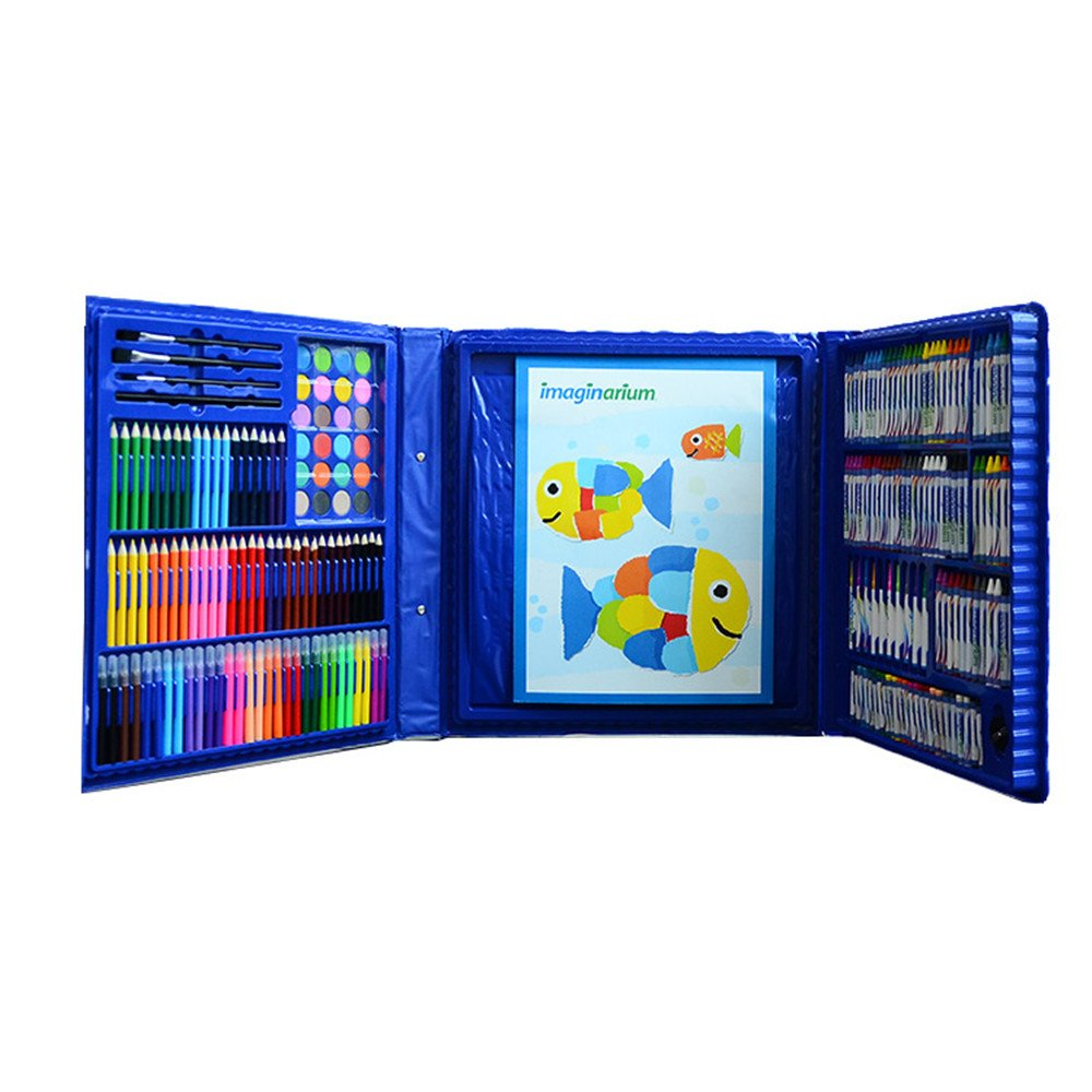 Artist art drawing set, 215 Pieces Of Art, Painter, Watercolor, Painting, Drawing, Coloring, Crafts, Teachers, Amateurs, Professionals And Beginners Of Various Art School Painting Supplies (Blue) Gift