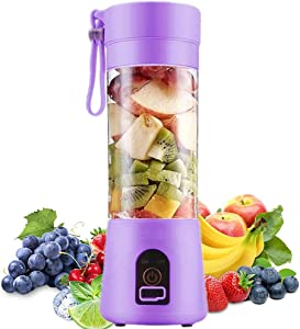 Portable Blender, Personal Blender, Small Fruit Mixer with 6 Blades, Electric USB Rechargeable Juicer Cup, Fruit Mixing Machine Home,Travel,BBQ (Purple)