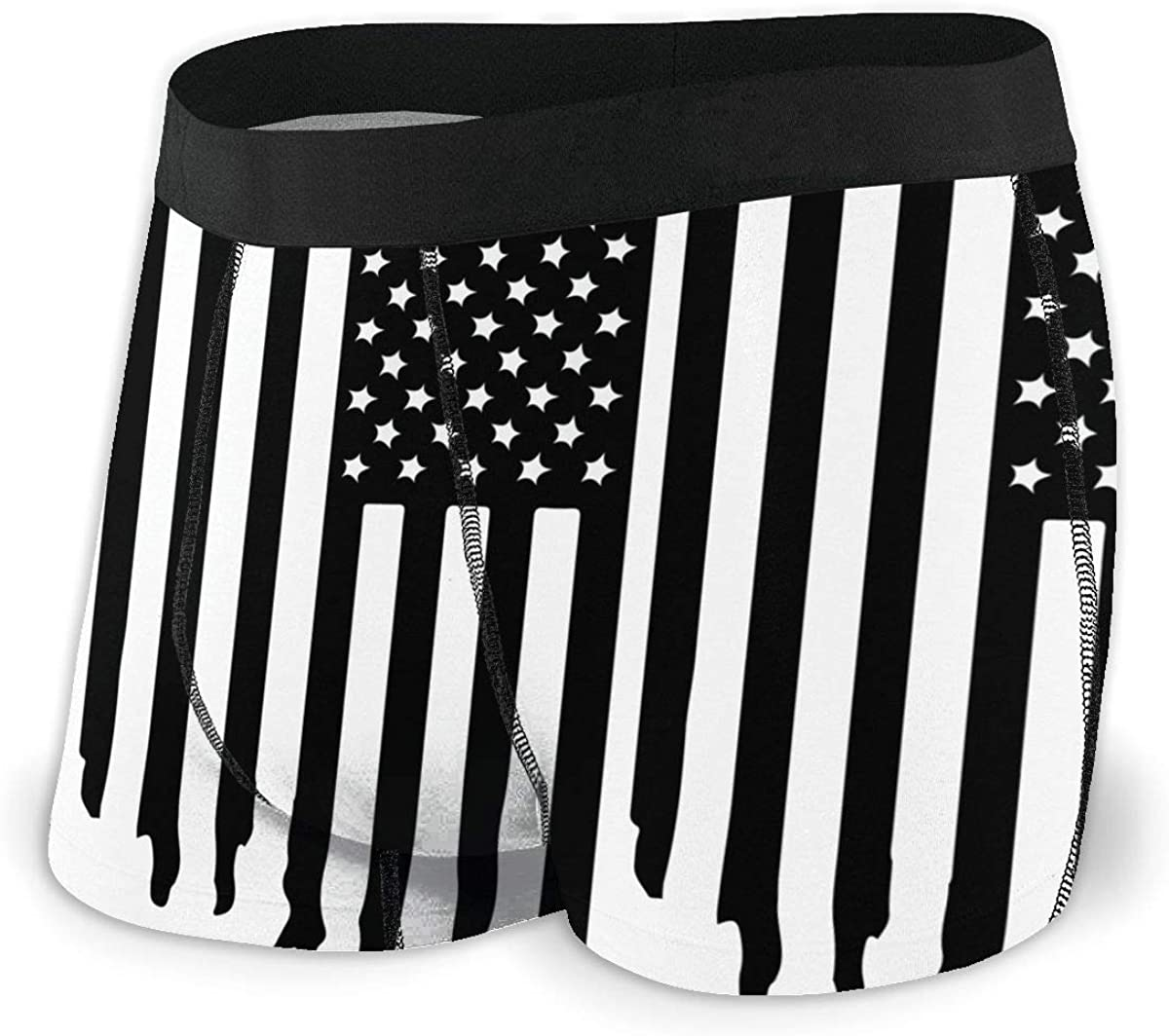 USA American Flag Black White Men Regular Leg Boxer Brief Underwear Ride-Up Panties