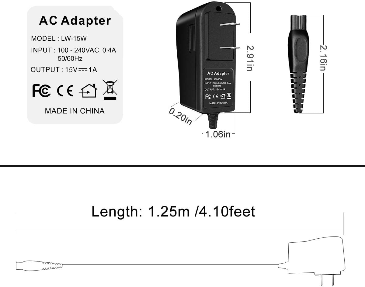 ARyee 15V 1A Shaver Charger Compatible with Philips Norelco AT895 AT895//41 PT724 PT724//41 AT790 AT790//40 AT810 AT810//41 AT815 AT815//41 1190XD 1190XD//44 AT895 AT895//97 1255X