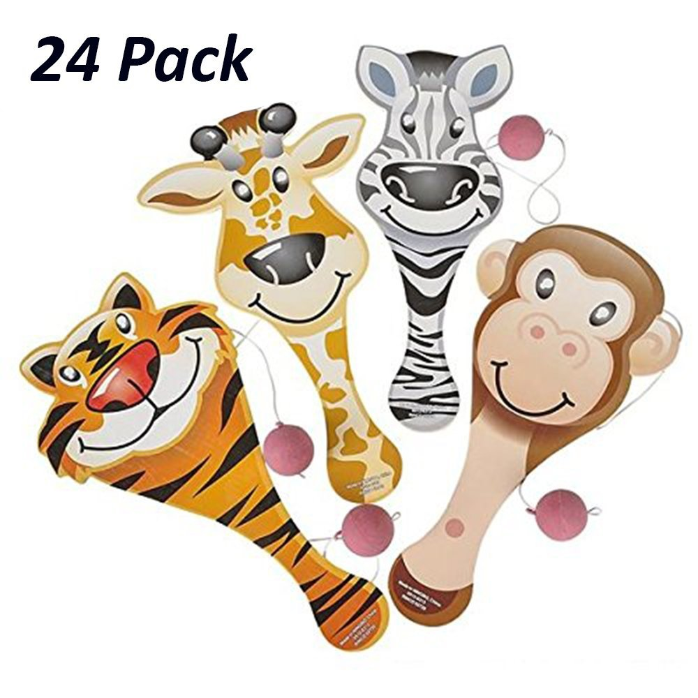 Zoo Animal Paddle Ball Game - 24 Pack - Assorted Zoo Animal Shaped Paddle Ball Game - Great For Animal Themed Party Favors And Giveaways - By Katzco