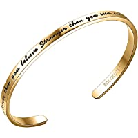 SOLOCUTE Cuff Bangle Bracelet Engraved You are Braver Than You Believe Stronger Than You Seem and Smarter Than You Think Inspirational Jewelry