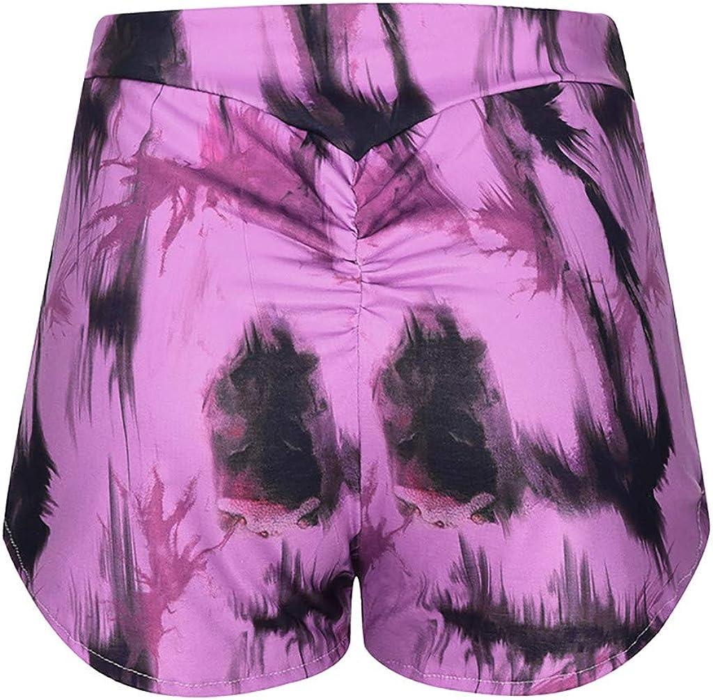 LEKODE Women Shorts Tie-Die Print Fashion Casual High Waist Yoga Pants
