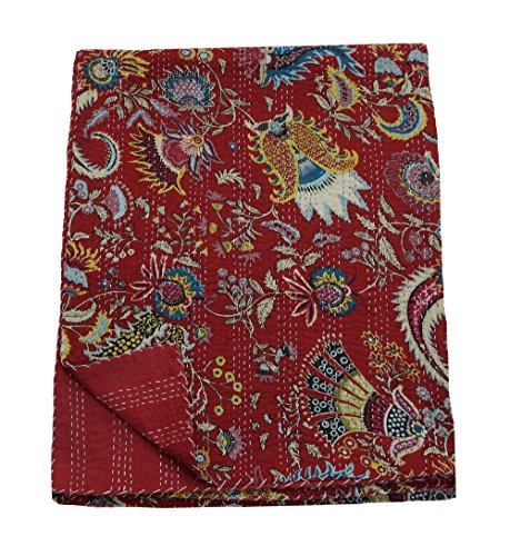 My Craft Palace Red Indian Cotton Bed Sheet Crown Print Home Decorative Blanket Queen Kantha Stitched Quilt