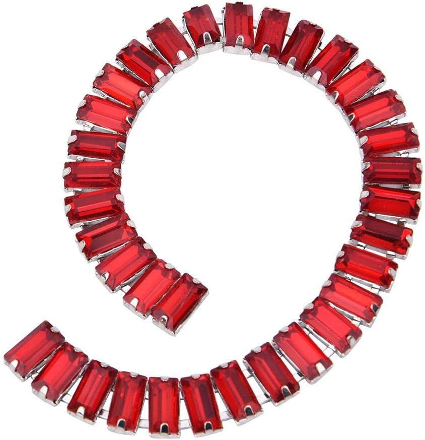 AB Color 5X10MM Crystal Glass Rhinestone Crystal Glass Chain Long Strip Sew On Trim for DIY Clothes Wedding Dress Decoration HEEPDD Rhinestone Chain