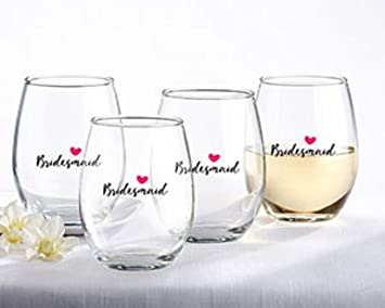 5095853b751 Kate Aspen, Bridesmaids Pink Heart Stemless Wine Glass, Party Favors, 15  Oz. (Set of 4)