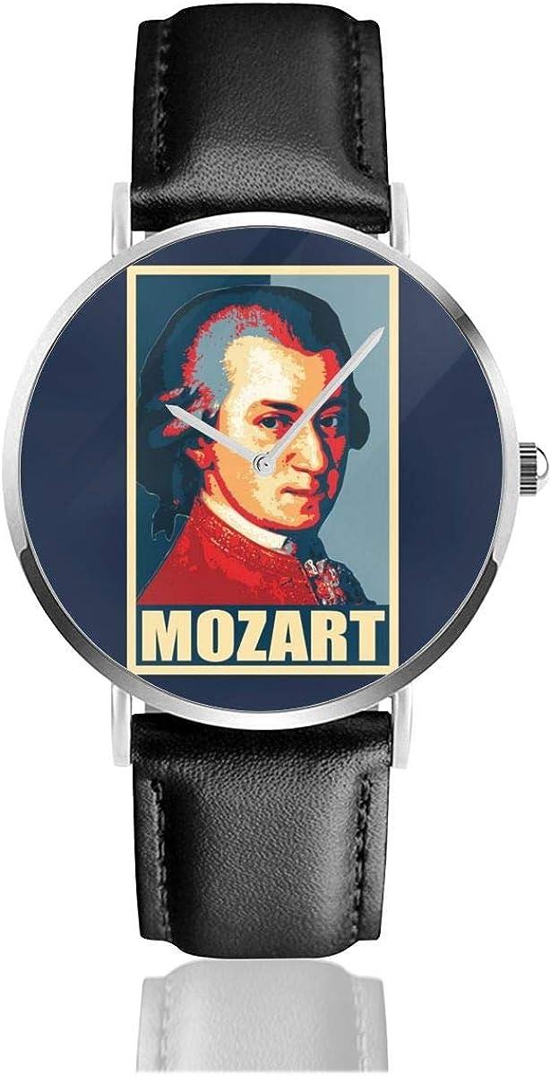 Mozart Propaganda Pop Art Reloj de Cuarzo con Correa de Cuero Negro para Hombres y Mujeres, colección de Regalo