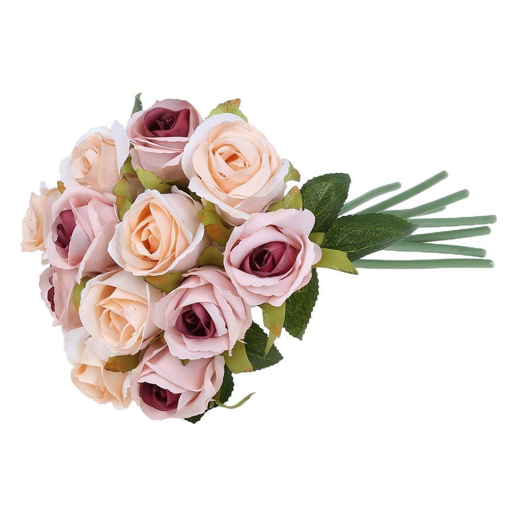 KUKALE 造花 12本 バラの造花 シルクブーケ ウェディングパーティー ホームデコレーション用品 app.25.5x17cm/10.04x6.69in LJY01 B07RSQJ5L8 Autumn Pink