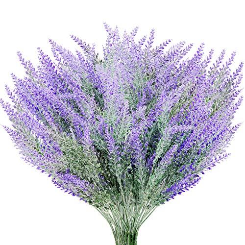 Yaomiao 10 Bundles Artificial Lavender Flowers Bouquet Plant Purple Artificial for Wedding Home Decor Office Garden Patio Decoration ()