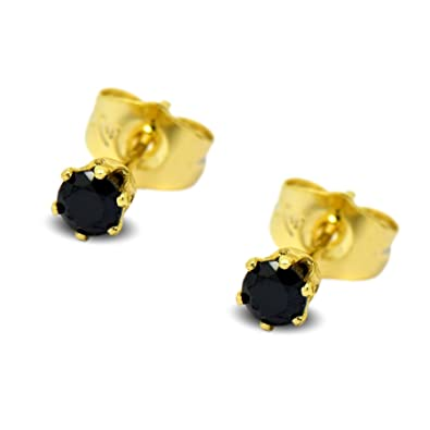 60007bc13 Blue Diamond Club - Tiny 9ct Yellow Gold Filled Womens Stud Earrings Girls Round  Small 4mm Onyx Black CZ Crystals 6 Claws: Amazon.co.uk: Jewellery